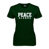 Ladies Dark Green T Shirt-PEACE Alumna