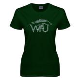 Ladies Dark Green T Shirt-WPU Primary Mark