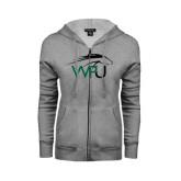 ENZA Ladies Grey Fleece Full Zip Hoodie-WPU Primary Mark
