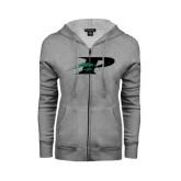 ENZA Ladies Grey Fleece Full Zip Hoodie-P w/Pacer