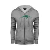 ENZA Ladies Grey Fleece Full Zip Hoodie-Pacer Head