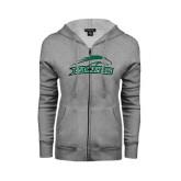 ENZA Ladies Grey Fleece Full Zip Hoodie-Arched Pacer w/ Pacer