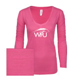 ENZA Ladies Hot Pink Long Sleeve V Neck Tee-WPU Primary Mark