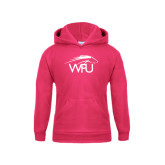 Youth Raspberry Fleece Hoodie-WPU Primary Mark