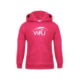 Youth Raspberry Fleece Hood-WPU Primary Mark
