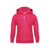 Youth Raspberry Fleece Hoodie-WPU Primary Mark Foil
