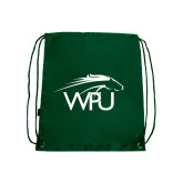 Dark Green Drawstring Backpack-WPU Primary Mark