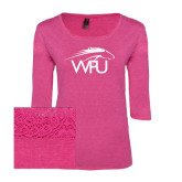 Ladies Dark Fuchsia Heather Tri Blend Lace 3/4 Sleeve Tee-WPU Primary Mark