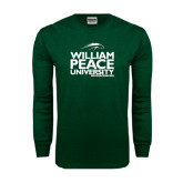 Dark Green Long Sleeve T Shirt-William Peace University Stacked