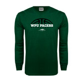 Dark Green Long Sleeve T Shirt-Basketball Half Ball Design