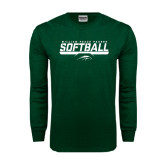 Dark Green Long Sleeve T Shirt-Softball Bar Design