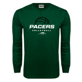 Dark Green Long Sleeve T Shirt-Pacers Volleyball Stacked