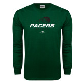Dark Green Long Sleeve T Shirt-Pacers Lacrosse Stacked