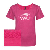 Ladies Dark Fuchsia Heather Tri-Blend Lace Tee-WPU Primary Mark