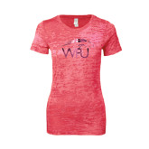 Next Level Ladies Junior Fit Fuchsia Burnout Tee-WPU Primary Mark Foil