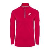 Ladies Pink Raspberry Sport Wick Textured 1/4 Zip Pullover-WPU Primary Mark