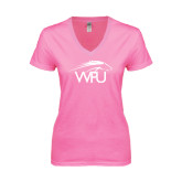 Next Level Ladies Junior Fit Deep V Pink Tee-WPU Primary Mark