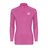 Ladies Syntrel Interlock Raspberry 1/4 Zip-WPU Primary Mark