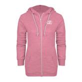 ENZA Ladies Hot Pink Marled Full Zip Hoodie-WPU Primary Mark