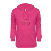 ENZA Ladies Hot Pink V Notch Raw Edge Fleece Hoodie-WPU Primary Mark