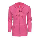 ENZA Ladies Hot Pink Light Weight Fleece Full Zip Hoodie-WPU Primary Mark