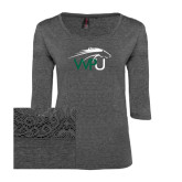 Ladies Charcoal Heather Tri Blend Lace 3/4 Sleeve Tee-WPU Primary Mark
