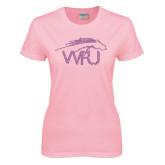 Ladies Pink T-Shirt-WPU Primary Mark