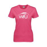 Ladies Fuchsia T Shirt-WPU Primary Mark