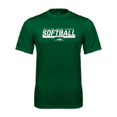 Performance Dark Green Tee-Softball Bar Design