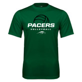 Performance Dark Green Tee-Pacers Volleyball Stacked
