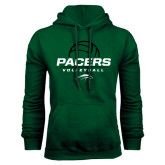 Dark Green Fleece Hood-Pacers Volleyball Stacked