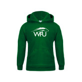 Youth Dark Green Fleece Hoodie-WPU Primary Mark
