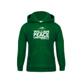 Youth Dark Green Fleece Hoodie-William Peace University Stacked