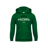 Youth Dark Green Fleece Hoodie-Soccer Ball Stacked Design