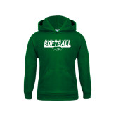 Youth Dark Green Fleece Hoodie-Softball Bar Design