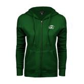 ENZA Ladies Dark Green Fleece Full Zip Hoodie-WPU Primary Mark