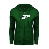 ENZA Ladies Dark Green Fleece Full Zip Hoodie-P w/Pacer