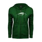 ENZA Ladies Dark Green Fleece Full Zip Hoodie-Pacer Head