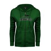 ENZA Ladies Dark Green Fleece Full Zip Hoodie-Arched Pacer w/ Pacer