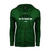 ENZA Ladies Dark Green Fleece Full Zip Hoodie-Basketball Half Ball Design