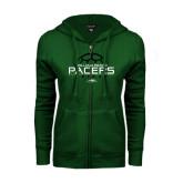 ENZA Ladies Dark Green Fleece Full Zip Hoodie-Soccer Ball Stacked Design