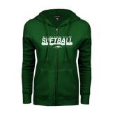 ENZA Ladies Dark Green Fleece Full Zip Hoodie-Softball Bar Design