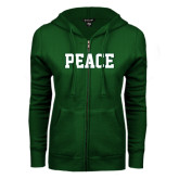 ENZA Ladies Dark Green Fleece Full Zip Hoodie-PEACE