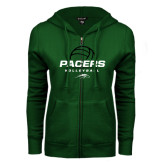 ENZA Ladies Dark Green Fleece Full Zip Hoodie-Pacers Volleyball Stacked