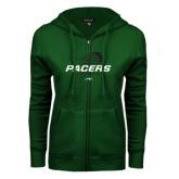 ENZA Ladies Dark Green Fleece Full Zip Hoodie-Pacers Lacrosse Stacked