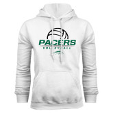 White Fleece Hoodie-Pacers Volleyball Stacked