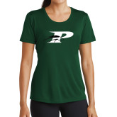 Ladies Performance Dark Green Tee-P w/Pacer