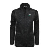 Black Heather Ladies Fleece Jacket-WPU Primary Mark