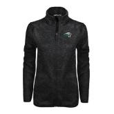 Black Heather Ladies Fleece Jacket-WPU Primary Mark