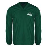 V Neck Dark Green Raglan Windshirt-WPU Primary Mark